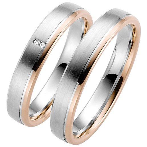 Palladium Wedding Ring with Rose Gold Rail