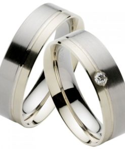 Modern Palladium and White Gold Wedding Ring