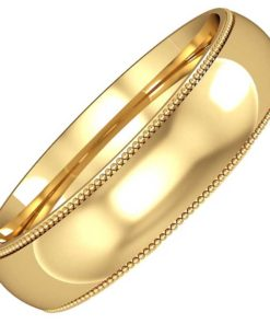 5mm Wide Mill Grain Edge Wedding Ring