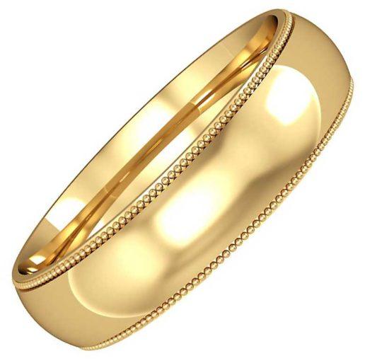 5mm Wide Mill Grain Edge Wedding Ring