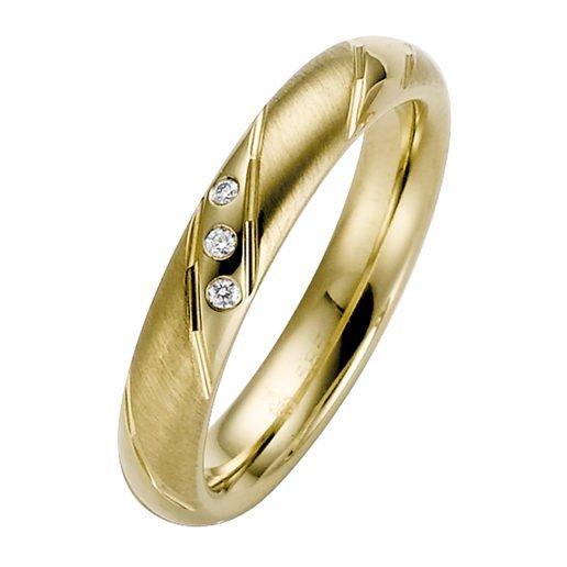 Ladies Yellow Gold Striped Court Wedding Ring