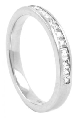 Half Eternity Princess Cut Diamond Wedding Ring
