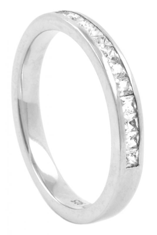 Half Eternity Princess Cut Diamond Wedding Ring