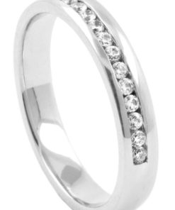 Offset Half Eternity Diamond Wedding Ring