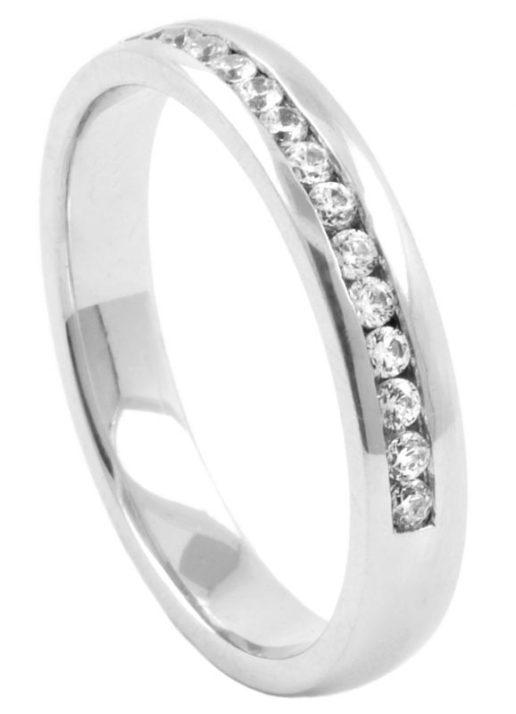 Offset Half Eternity Diamond Wedding Ring