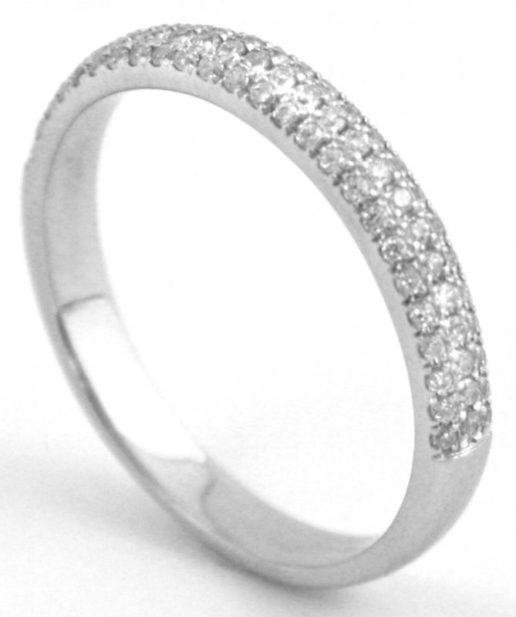 Pave Diamond Half Eternity Wedding Band