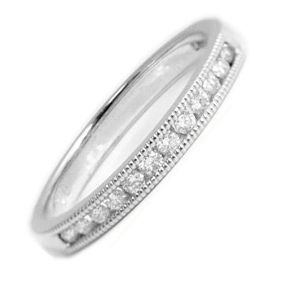 Diamond Wedding Ring with Mill Grain Edges