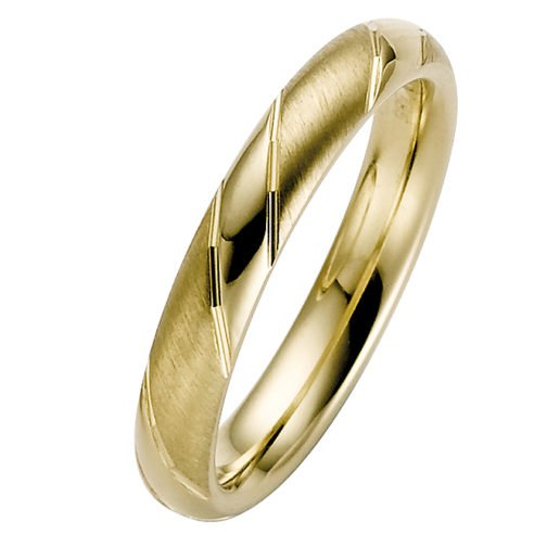 Yellow Gold Striped Court Wedding Ring