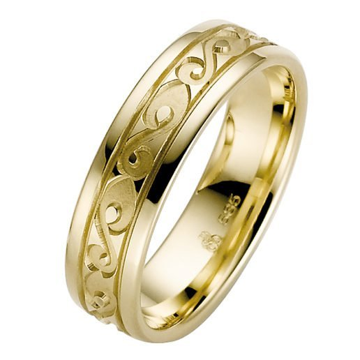Yellow Gold with Patterned Scroll