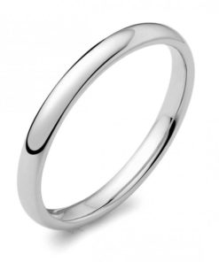 2mm Wide D-Shaped Wedding Ring