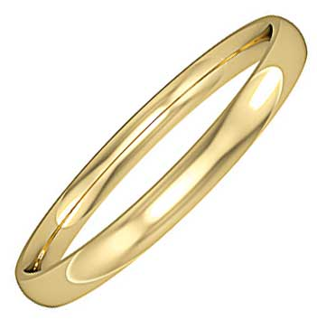 3mm Wide D-Shaped Wedding Ring