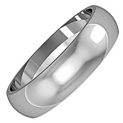 5mm Wide D-Shaped Wedding Ring
