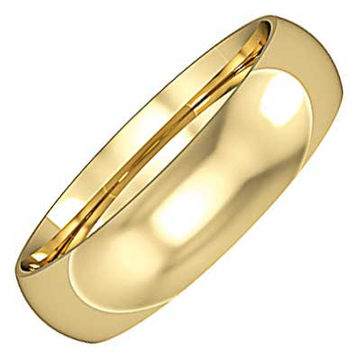 5mm Wide Classic Court Wedding Ring