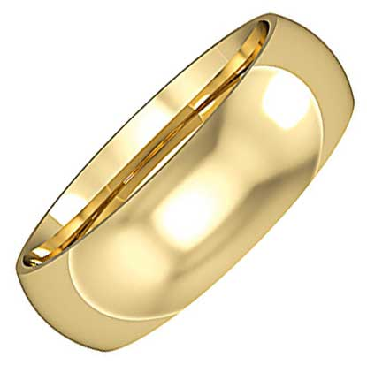 6mm Wide Classic Court Wedding Ring