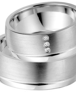 Silver Wedding Ring with Platinum Plating