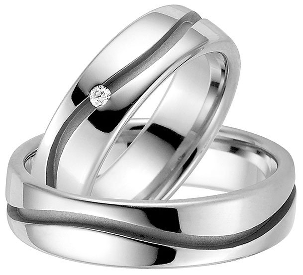 Modern Platinum Plated Sterling Silver Wedding Ring
