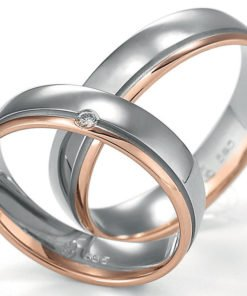 Palladium and Rose Gold Wedding Rings