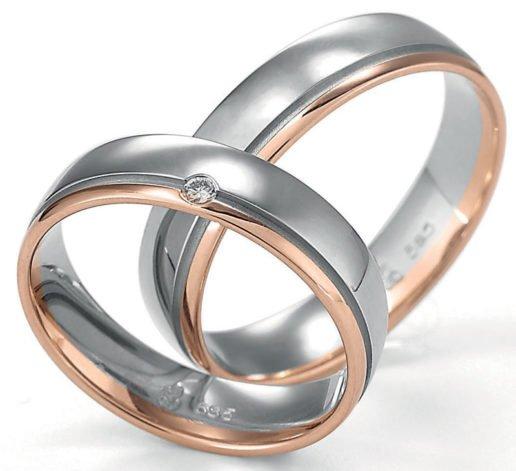Palladium with Rose Gold Wedding Ring