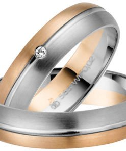 Contemporary Palladium and Rose Gold Wedding Ring