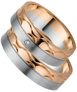 Rose Gold and Palladium Contempory Wedding Band