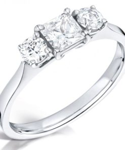 Princess and Round Three Stone Diamond Engagement Ring