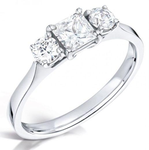 Princess and Round Three Stone Diamond Engagement Ring