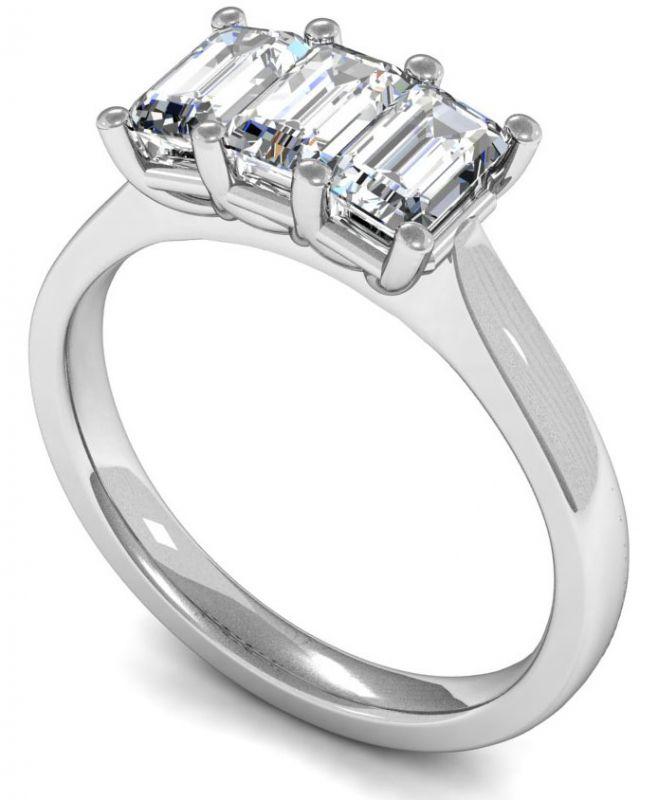 18k White Gold Three Stone Emerald Cut Diamond Ring