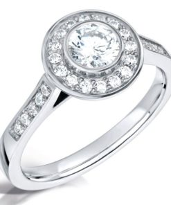 White Gold Vintage Halo Engagement Ring