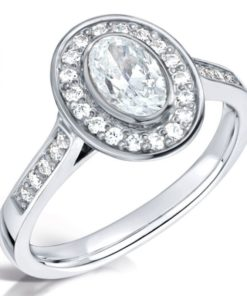 White Gold Vintage Oval Diamond Engagement Ring