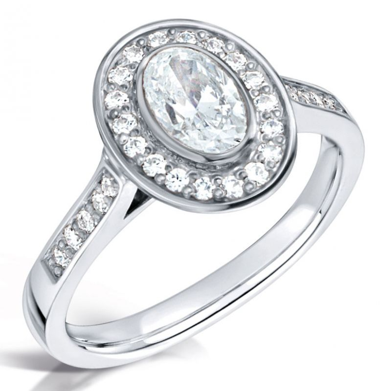 White Gold Vintage Oval Diamond Engagement Ring With