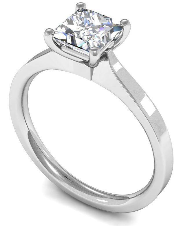 18k White Gold Princess Cut Solitaire Engagement Ring