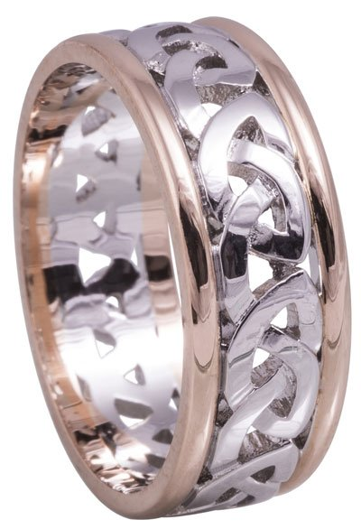 Rose Gold and White Gold Celtic Knot Wedding Ring