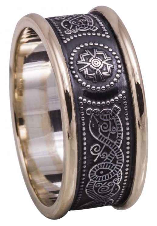 Mens Sterling Silver and Gold Celtic Shield Wedding Ring
