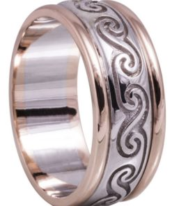 Rose Gold and White Gold Celtic Spiral Wedding Ring