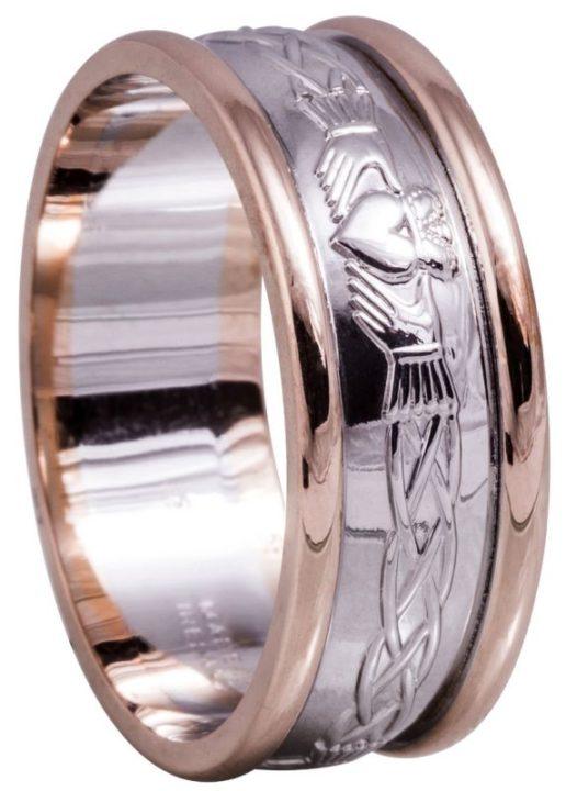 two tone gold claddagh wedding ring