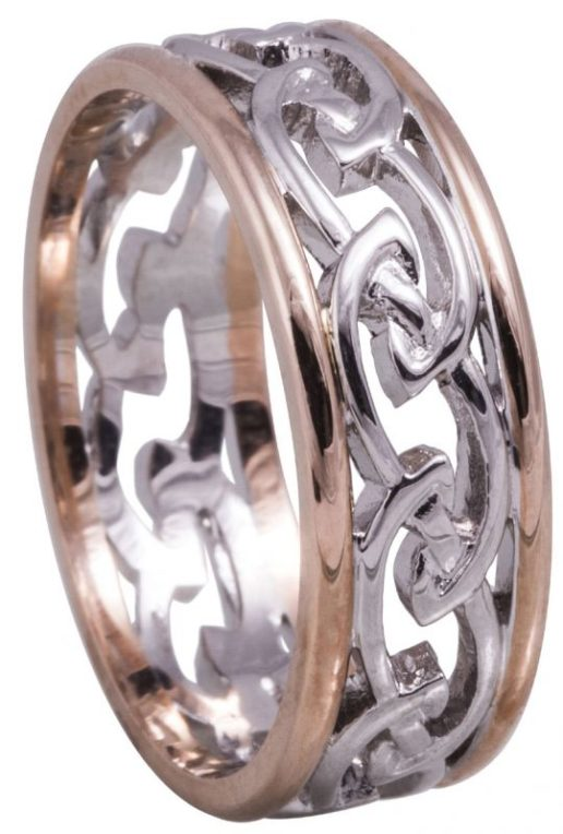 White Gold Celtic Knot Wedding Ring with Rose Gold Rims