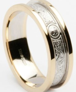 Celtic Shield Wedding Band with Flat Heavy Rims