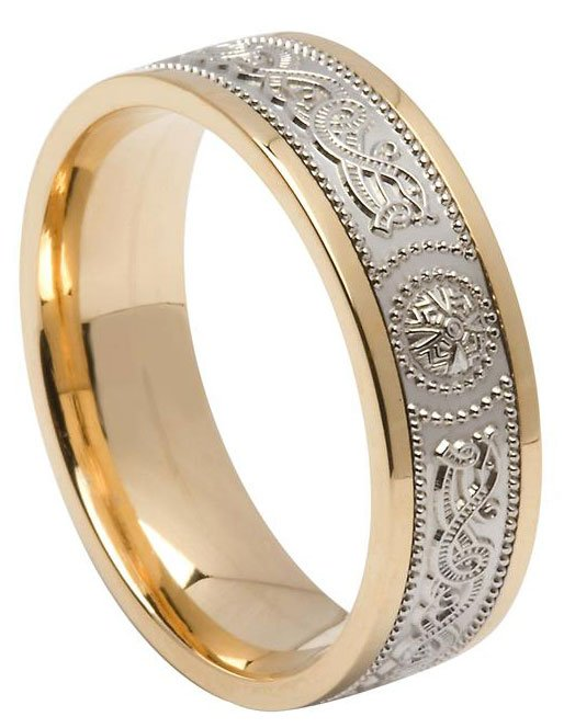 Celtic Shield Wedding Ring Two Tone Gold